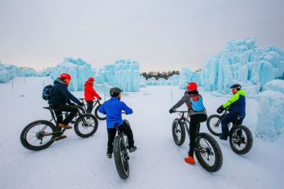 Fat Biking Across The Frozen River Valley To The Ice Castles Of Edmonton, Canada (69)